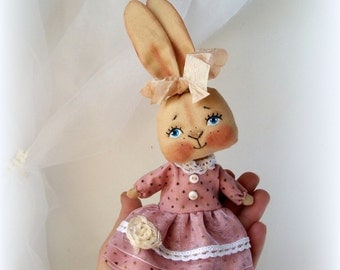 LittleDoll, Rabbit doll, Cloth Doll, art doll,handmade,Rabbit Toy,animal toy,bunny doll