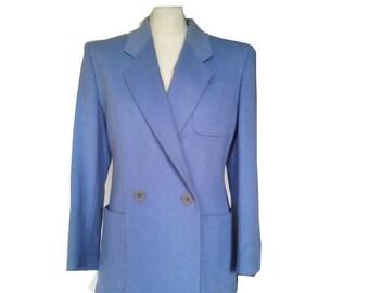 JAEGER Vintage Jacket 1970 does 1940 Wool angora Blue S