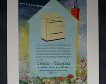 1950s Antique Simplex Advertisement, Creda Advert Retro Wall Art Domestic Decor Available Framed, Oven Art Home Sweet Home Housewarming Gift