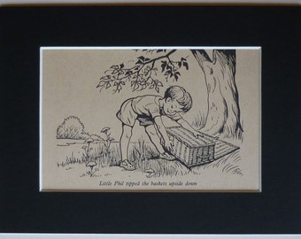 1950s Vintage Children's Print of Little Phil from 'What Katy Did' Charming girl's nursery decor, beautiful Vintage story book illustration