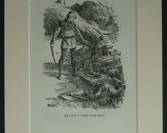 Vintage Edwardian Arthur George Walker Print Medieval woodland art, mounted fairy tale decor - Available Framed, Knight Picture, Forest Gift