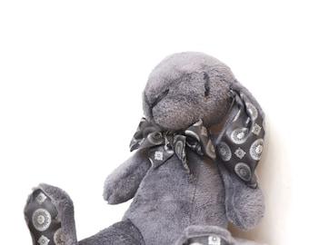 Plush bunny, rabbit, stuffed, grey, big, Easter bunny, baby shower toy, baby boys