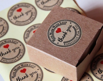24 Round Thank You Handmade with Love Especially for You Brown Paper Sticker Labels. 3.8cm diameter. Gift Wrapping. Label Seals. Wedding