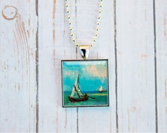 Van Gogh Sailboat, Sailboat Necklace, Sailboat Jewelry, Seascape at Saintes Mariess, Vincent Van Gogh, Nautical Necklace, Nautical Jewelry
