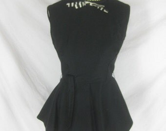 1950s 1960s Black Vintage Womens Top Shirt Blouse W26