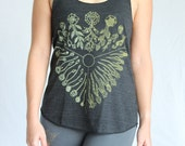 Protector of the Seeds tank top - Plant Kingdom sprouting seeds. Botany shirt. Anti GMO - Gold blend screen print on 10 womens tank colors.