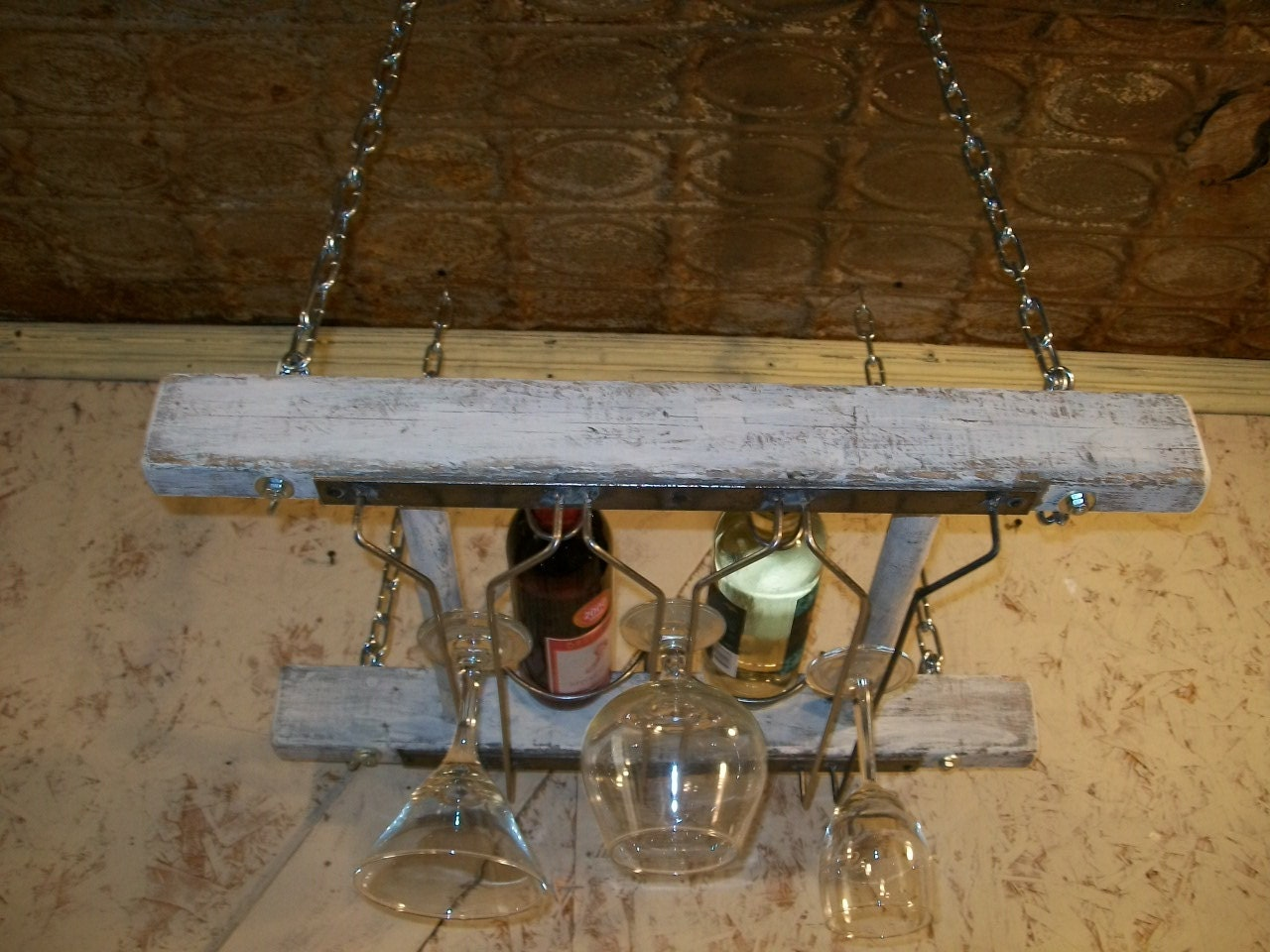 Rustic wooden ladder hanging wine 2 bottle rack ceiling Hanging wooden wine rack