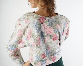 Floral vintage blazer, women jacket, cottage chick blazer, size