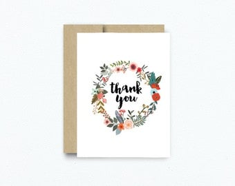 Floral Thank You Card. Flower Blank Notecard Greeting Card. Thank You Notes. Bridal Shower Baby Shower Thank You cards. #234