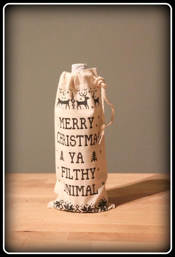 Christmas Wine Tote Bag, Christmas wine bag, Merry Christmas Ya Filthy Animal Wine Tote Bag, Merry Christmas ugly sweater print