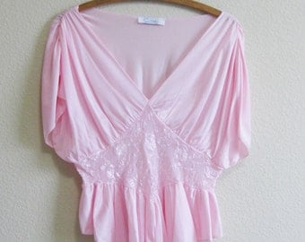 Pink Grecian Lace Romper Teddy Bodysuit CIRA Medium