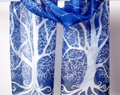 silk scarves White Tree of Gondor long silk scarf  LOTR scarf - navy blue & white foulard - tree scarf - trees scarves
