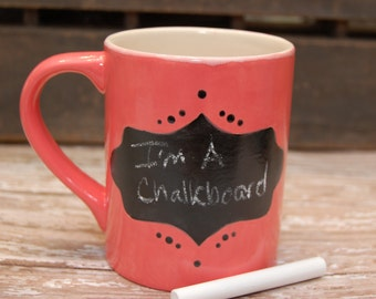 Chalkboard Coffee Mug, Handmade ceramic coffee mug, Teacher's Mug, Teacher gift, sarcastic coffee mug, chalkboard tea mug, Gift for Mom