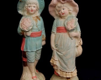 Vintage Alexander Backer ABCO Victorian Children Figurines, Mid Century Victorian Revival Boy Girl Figurines Backer Chalkware Figurines