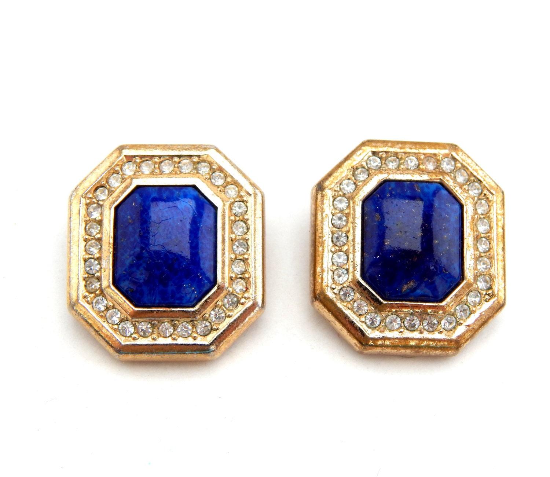 Gold Tone Rhinestones Blue Stone Faux 🔎zoom