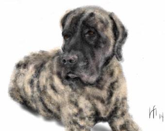 Custom Dog Portrait, custom portrait, pet portrait, dog lover, dog art, pet memorial, artwork, mastiff, English brindle mastiff, wall art