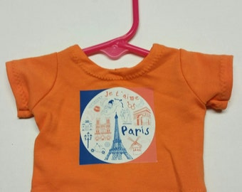 "Orange Doll Shirt with Paris Design 18"" Doll - Boutique American Made Girl/Boy Doll"