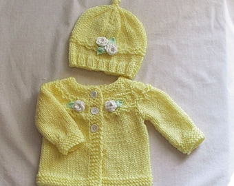 Knit Baby Sweater Set, Newborn to 3 Months, Yellow baby sweater, Baby Shower Gift, Knitted sweater set