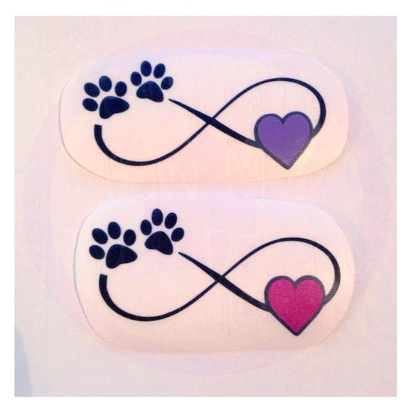 Infinity With Paw Print And Heart Decal Many Color Options