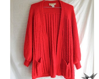 Vintage 1980's Red Lady Lilly Oversized Slouchy Boucle Nubby Marled Red Knit  Ribbed Cardigan Sweater  Size M/L