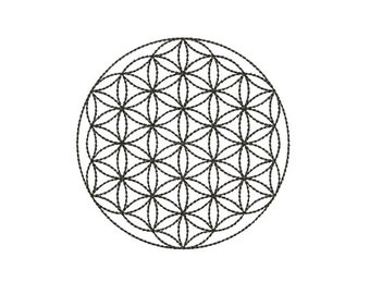 Machine Embroidery Design Instant Download - Flower Of Life 1 Sacred Geometry Quilting Redwork