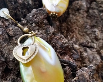 Unlock the Love for Earth Antique Brass and Stone-Like Earrings