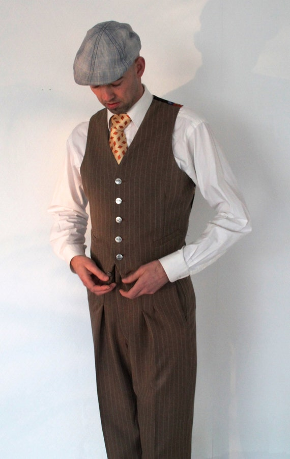 Men's Vintage Vests, Sweater Vests 1930s mens waistcoat vintage inspired mens vest light tailored vest 1940s style retro waistcoat $260.12 AT vintagedancer.com