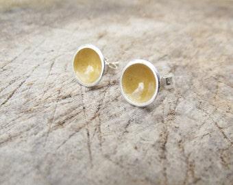 Sun silver earrings, yellow studs, handmade, enamel jewellery, hello sun, jewellery, gold, everyday wear, pretty studs, freepost