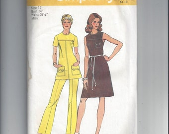 Simplicity 5620 Pattern for Misses' Dress or Tunic and Pants, Size 12, From 1973