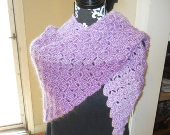 Triangle Wrap / Shawl with Scalloped Top Edge - Blended Lavender Purple and Pink Lilac Tri-Color Fading Stripes - Prayer Shawl / Prom Shawl