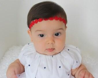 Red Baby Headband, Valentines Headband, Christmas Headband, Infant Headbands, Red Flower Headband, Baby Halo Headband, Baby Headband