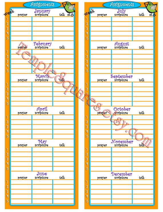 PRINTABLE Primary Talk Scripture Prayer Assignment Reminder Chart for Sharing Time.  Instant Download Digital Files
