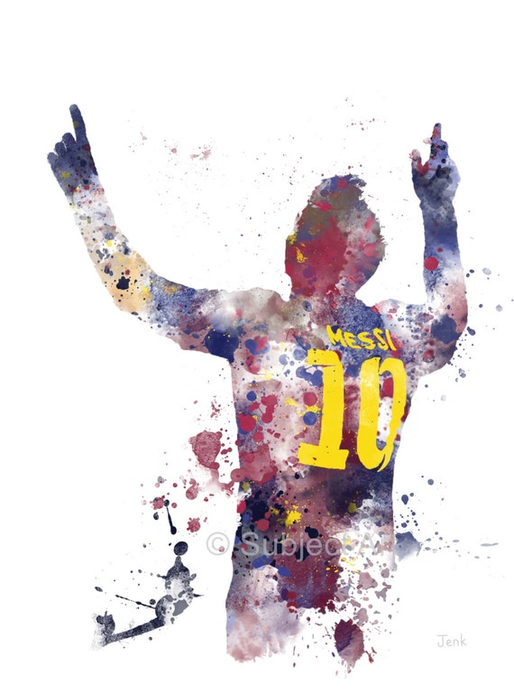 Lionel Messi Art Print Illustration Barcelona By Subjectart