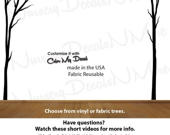Tree Decal for Kids, Dead Tree Forest Decal, Forest Wall Mural (Black Dead Trees No Deer) Dead_Nature_Tree NTD