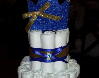 Little Prince Diaper Cake (Small) Baby Shower, Welcome Baby, Centerpiece, Gift