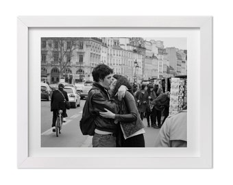 Paris Photography, Black and White Wall Art, Couple Kissing in Paris, Street Photography, Paris Love Photo, Paris Print, Love Gift