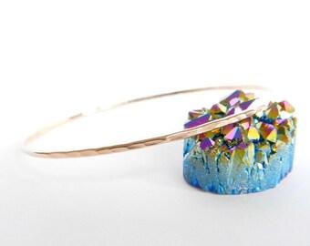 Rose Gold Bangle Hammered Bracelet