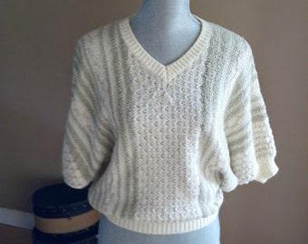 Vintage 1970s Batwing Pullover Sweater by Beldoch Popper