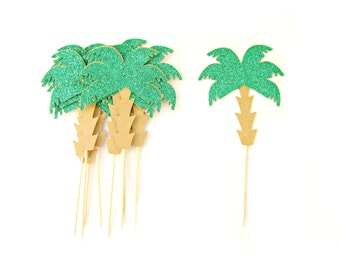 12 Palm Tree Cupcake Toppers - Tropical Cupcake Topper, Summer Cupcake Toppers, Summer Birthday, Tropical Party, Beach Party