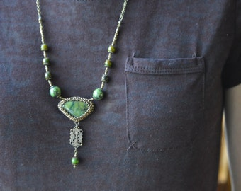 Green Turquoise Brass Bead Embroidered Necklace