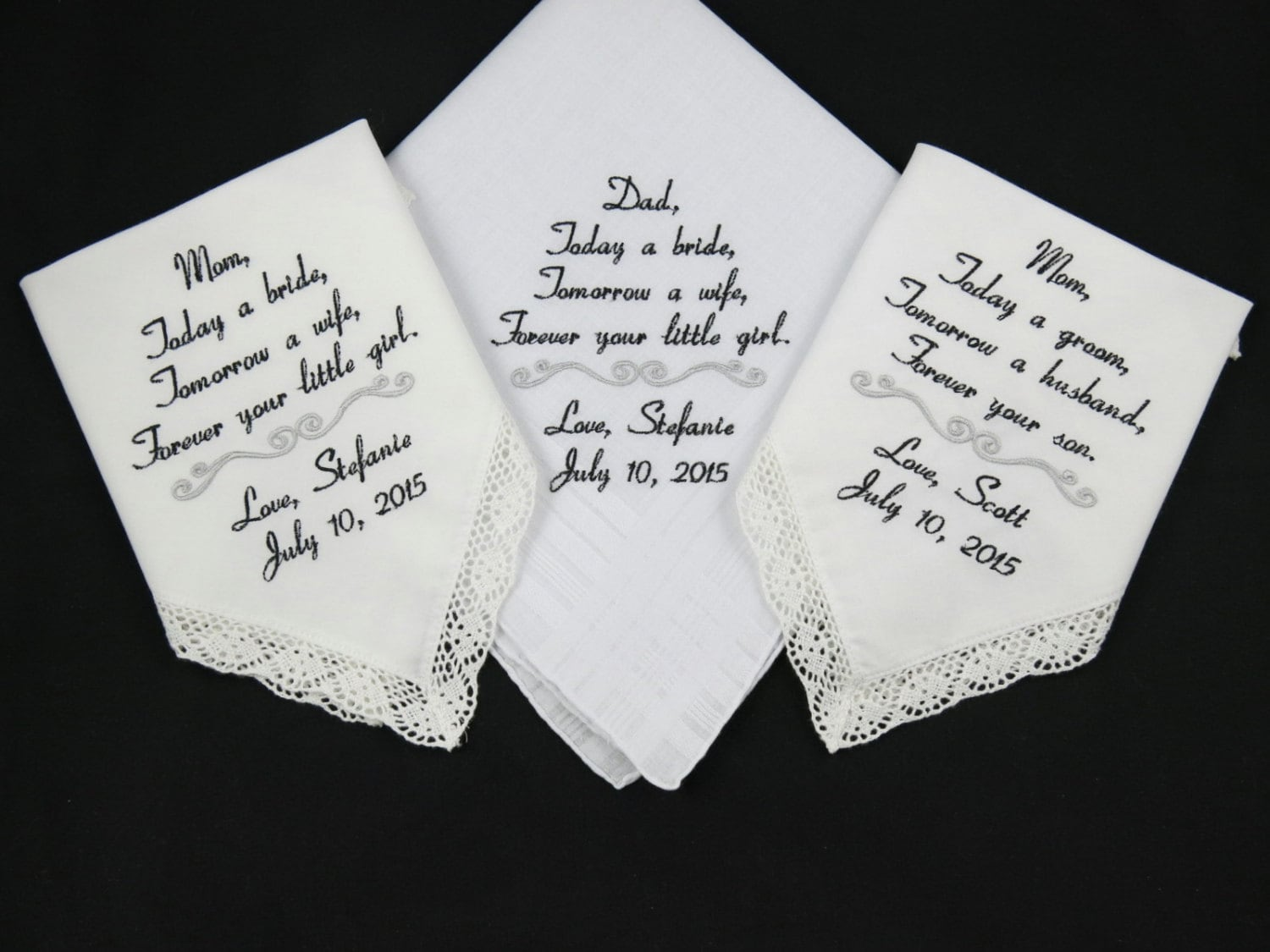 Wedding Handkerchiefs For The Family: Handkerchiefs Wedding Embroidered Personalized By