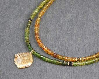 green tourmaline necklace, multiple strand necklace, gold feather pendant, gemstone jewelry, rust tourmaline necklace