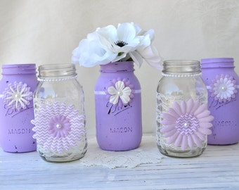 Set of 5 Mason Jars- Purple Lavender Wedding Bridal Baby Shower Mason Jar Centerpieces