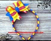 Primary Color Hair Bow Blue Red and Yellow Ribbon  for Girls Primary Colors Outfits Snow White Birthday Baby head bands