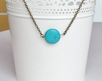 Turquoise Crystal Antique Bronze Rustic Necklace, Bridesmaids Gift, Everyday Necklace N137