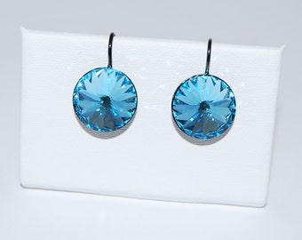 14mm Swarovski™ Crystal Earrings,Rivoli Crystal Earrings,Gunmetal Finish,March Birthday,Light Blue Earring,