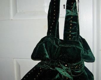 Sweet Designer Diane Gail Green Velvet Hippy Boho Bow Brass Stud  Purse Handbag