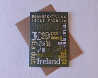 Patrick's Day card  - Ireland - Gaeilge - made in the west of Ireland - 17th March - shamrock - Irish language - Éire