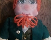 Irish Doll Leprechaun  Folk Art Rag Doll St. Patricks Day Art Doll Boy,Irish Eyes, Male Raggedy Andy, Irish Saint Doll, Red Hair, Freckles