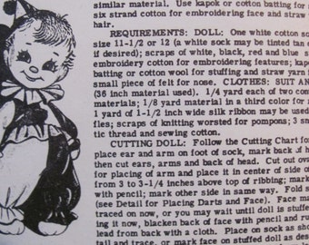 Vintage Sock Doll Pattern, Laura Wheeler 774, Doll Made Using a Size 12 Men's Sock